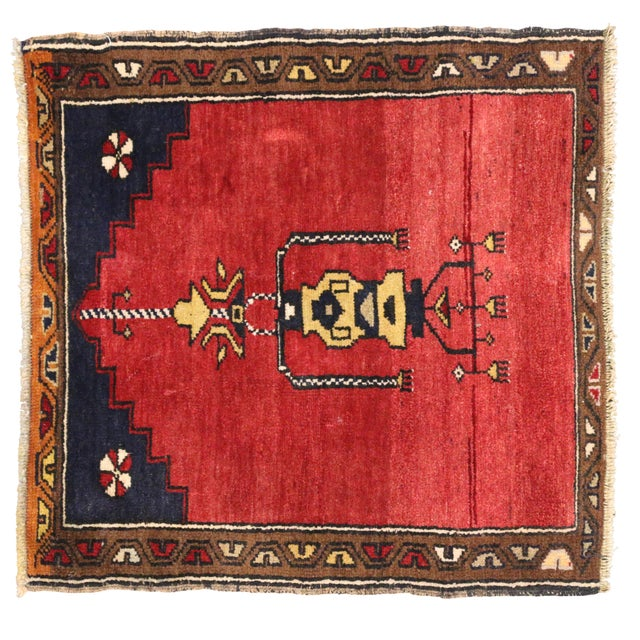 Vintage Turkish Oushak Rug with Modern Style -- 2'10 x 2'10 - Image 6 of 6