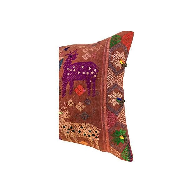 Antique Embroidered Textile Pillow - Image 6 of 8