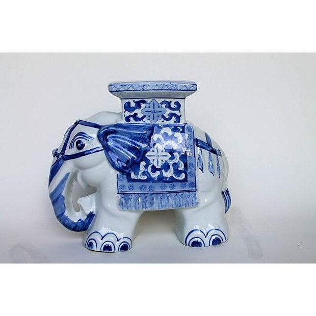 Petite Blue & White Elephant Garden Stool - Image 2 of 6