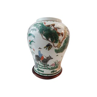 19th-C. Famille Verte Lamp Base Vase