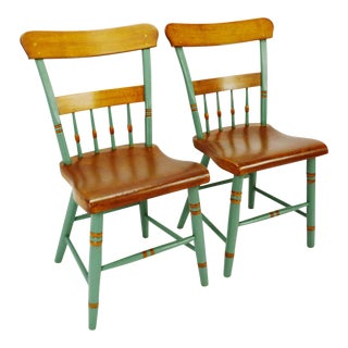 Antique 19th Century Half Spindle Back Plank Seat Painted Chairs - A Pair