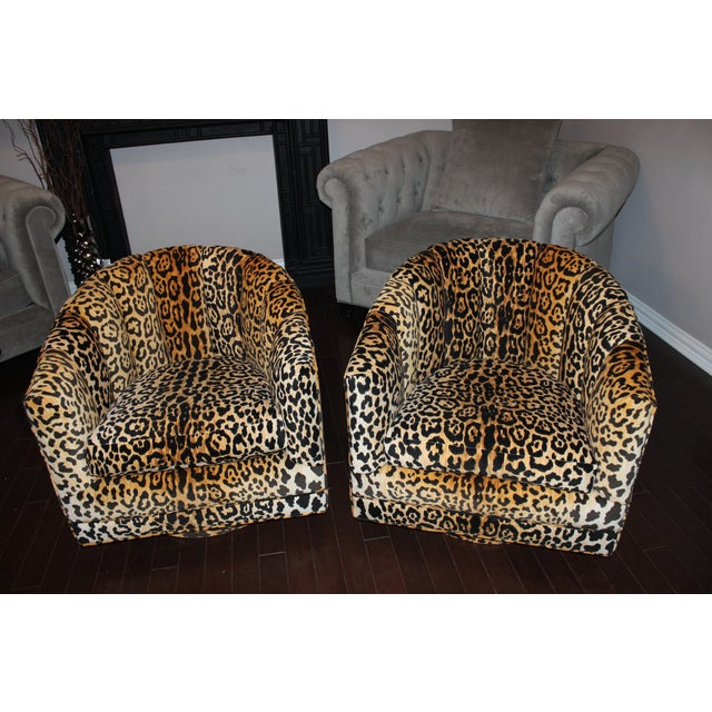 Braemore Jamil Cheetah Vintage Swivel Chairs - 2 - Image 2 of 4