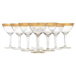 1930s Gilt Rim Tall Glass Stems, Set of 9