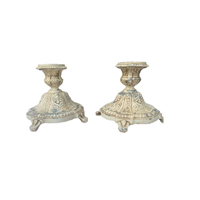 Distressed Grey & Ivory Candleholders - Image 2 of 3