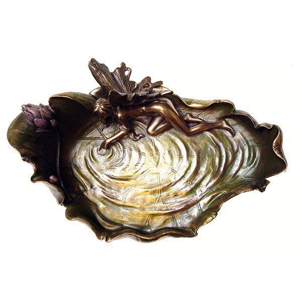 Image of Art Nouveau Fairy on Pond Leaf Dish