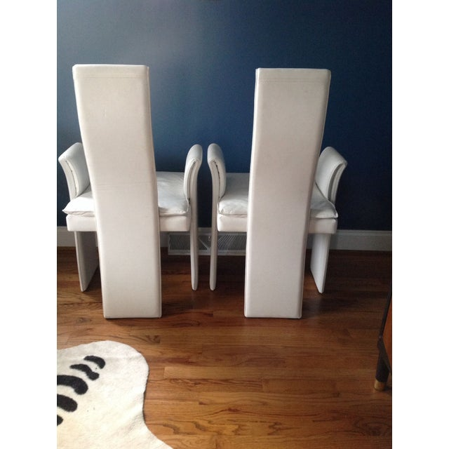 Image of Vintage White Leather Chairs - A Pair