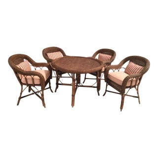 Wicker Table and Chairs Set - Set of 4