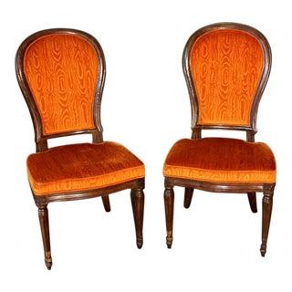 Henredon Mid-Century Modern Orange Velvet Dining Chairs - a Pair