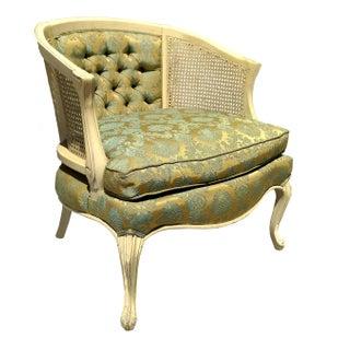 Vintage Green Barrel Cane Chair