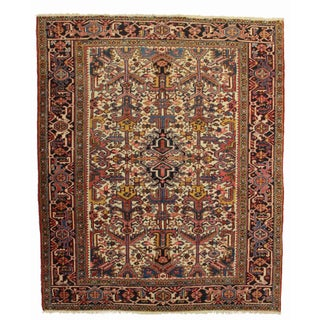 Vintage Hand Knotted Wool Persian Hariz Rug - 6′6″ × 7′11″