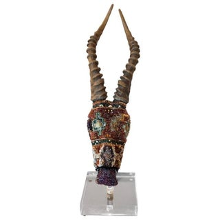 Jewel like Mixed Media Skull Sculpture on Lucite Stand