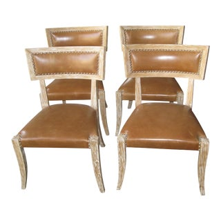 Klismos Style Leather Seat Chairs - Set of 4