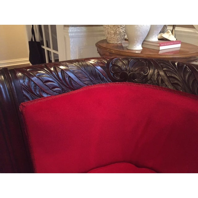 Antique Wood Carved & Red Fabric Sofa - Image 5 of 9