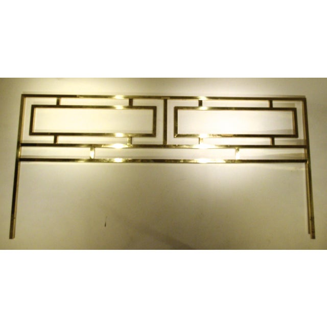 Hollywood Glam Greek Key Themed Brass King Headboard by Everett of California - Image 4 of 6