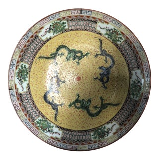 Vintage Yellow Chinese Dragon Wall Hanging Charger