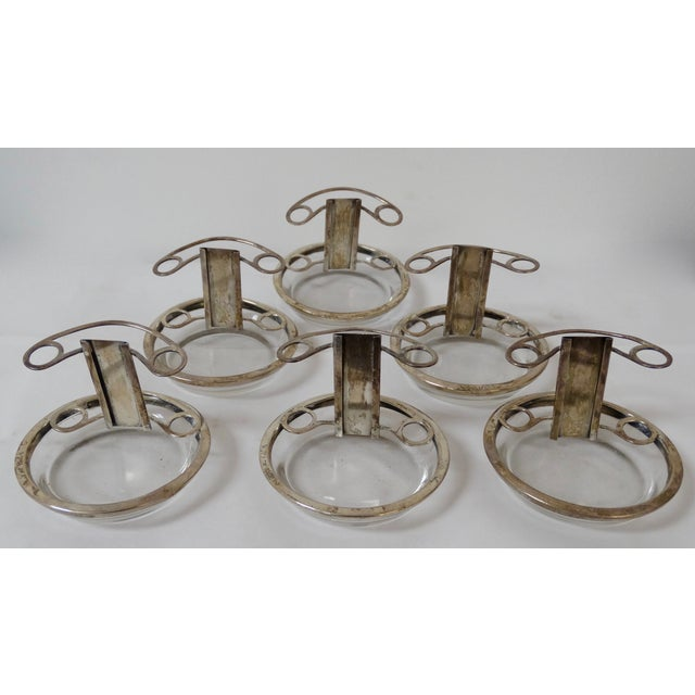 Glass & Silver Ashtray/Place Card Holders - S/6 - Image 2 of 5