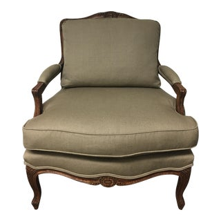 Bergere Style Custom Upholstered Arm Chair