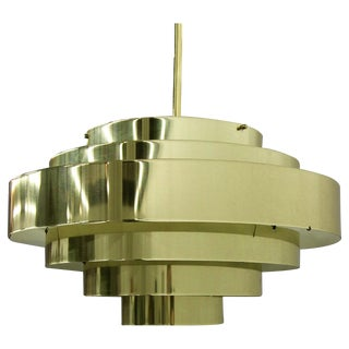 Vintage Modern Brass Six-Tier Ring Chandelier