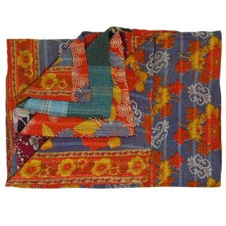 Vintage Bold Orange Floral Kantha Quilt