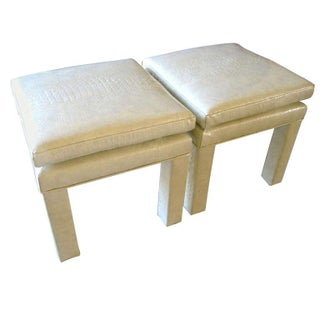 Croc Cream Leather Parson Style Stools - A Pair