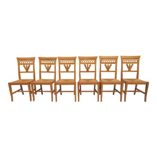 Italian Country Rush Seat Chairs - Set of 6