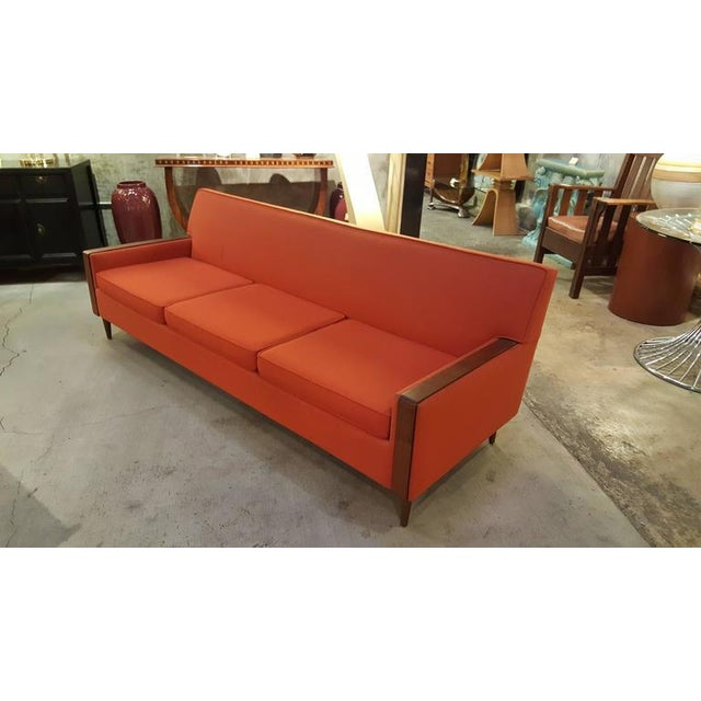 Mid Century Modern Paul McCobb Style Orange Sofa Chairish