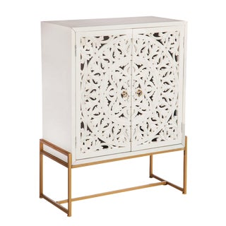 Patricia Lattice Accent White and Gold Cabinet