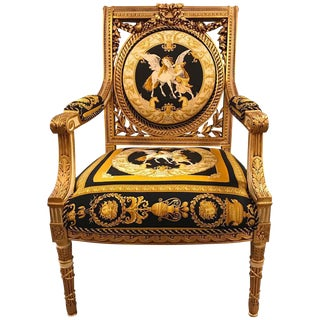 1980s Vintage Custom Versace Louis XVI Style Arm Chair