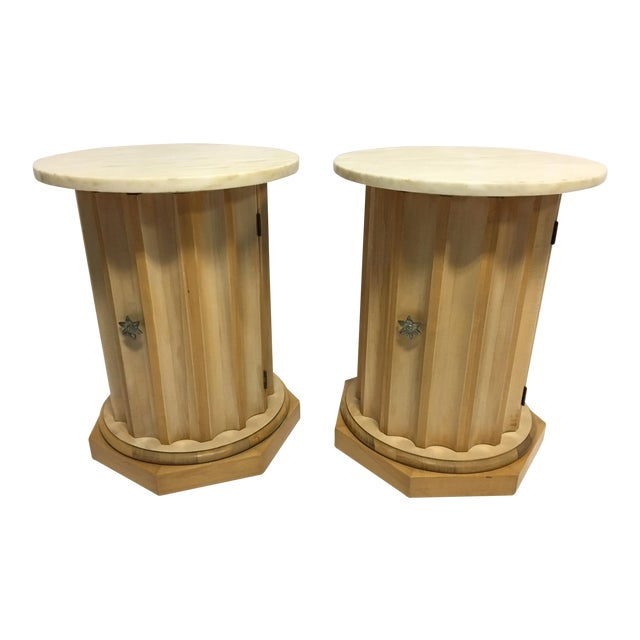 Medallion Column Cabinet Side Tables - A Pair - Image 1 of 5
