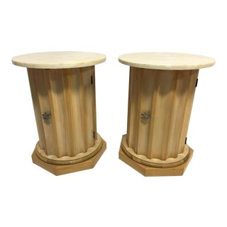 Medallion Column Cabinet Side Tables - A Pair