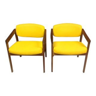 Midcentury Modern Yellow Arm Chairs - Pair