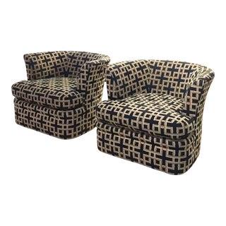 Mid-Century Swivel Barrel Back Club Chairs - Pair