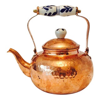 Copper Teakettle With Ceramic Accents