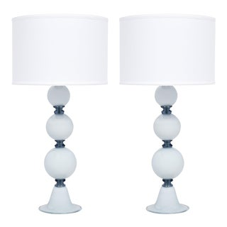 Murano Glass Spherical Blue Table Lamps