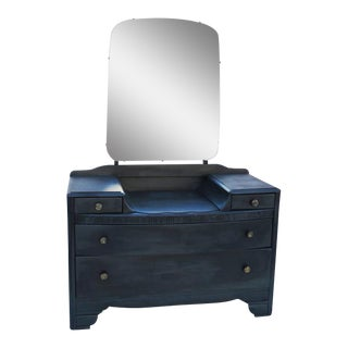Vintage 1940's Dark Gray / Midnight Vanity Dresser & Mirror