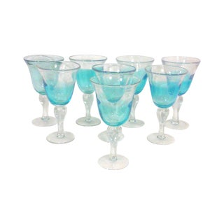 Blue Ombre Hand Blown Goblets - Set of Eight