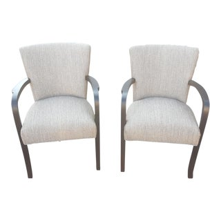 Contemporary Taupe Upholstered Wooden Arm Chair- A Pair