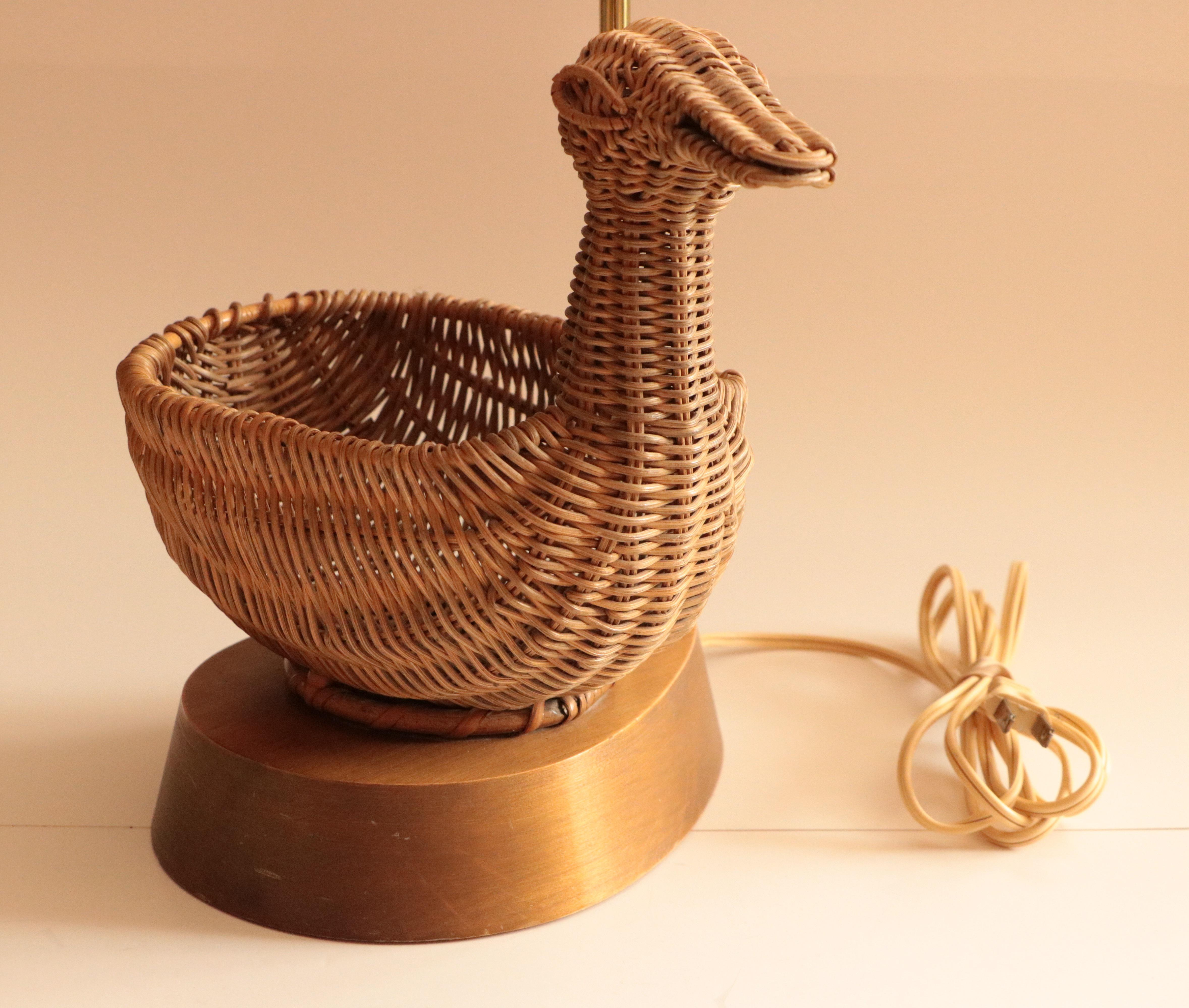 Mid Century Wicker Duck Table Lamps   Image 3 Of 8