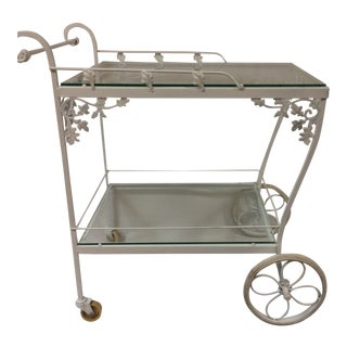 Vintage White Woodard Garden Cart