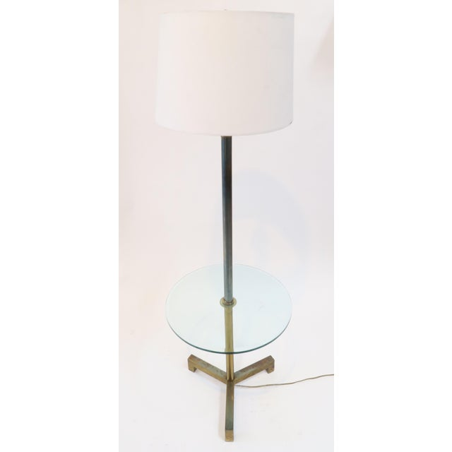 Brass Floor Lamp With Glass Table - Image 2 of 7