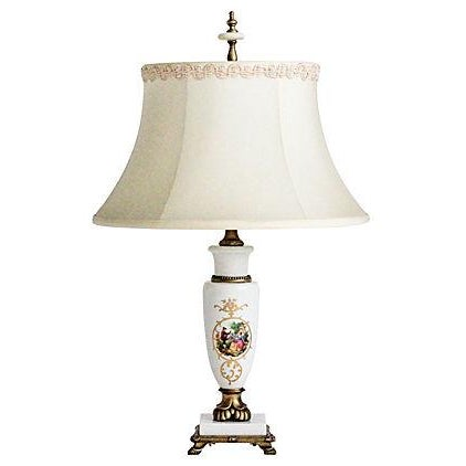 Porcelain Lamp With Custom Shade - Image 1 of 9