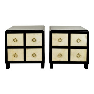 Ebonized Wood & Parchment Nightstand Chests - a Pair