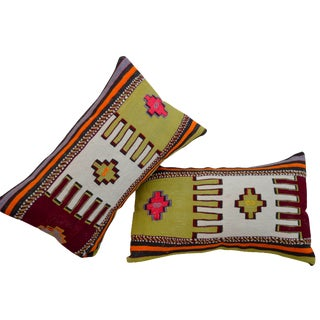 Vintage 18″ X 28″ Turkish Kilim Rug Pillow Covers - A Pair