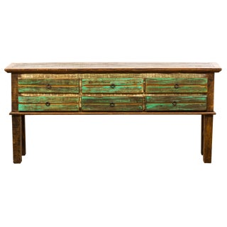 Vintage Antique Rustic Six Drawer Console Table