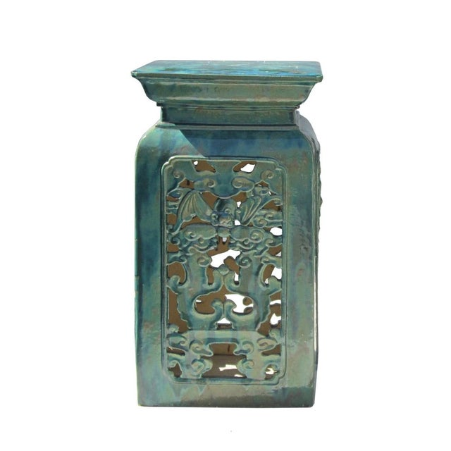 Chinese Clay Turquoise Green Square Pedestal Stand - Image 2 of 6