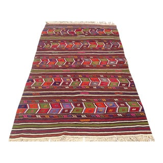 Vintage Turkish Kilim Rug - 4′10″ × 7′11″