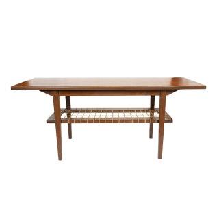 Danish Modern Teak Coffee Table with Cane Shelf