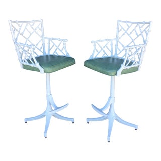 Vintage Kessler Faux Bamboo Swivel Bar Stools- A Pair
