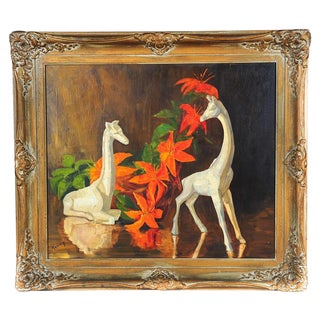 Vintage Carved Giraffes & Flowers Painting