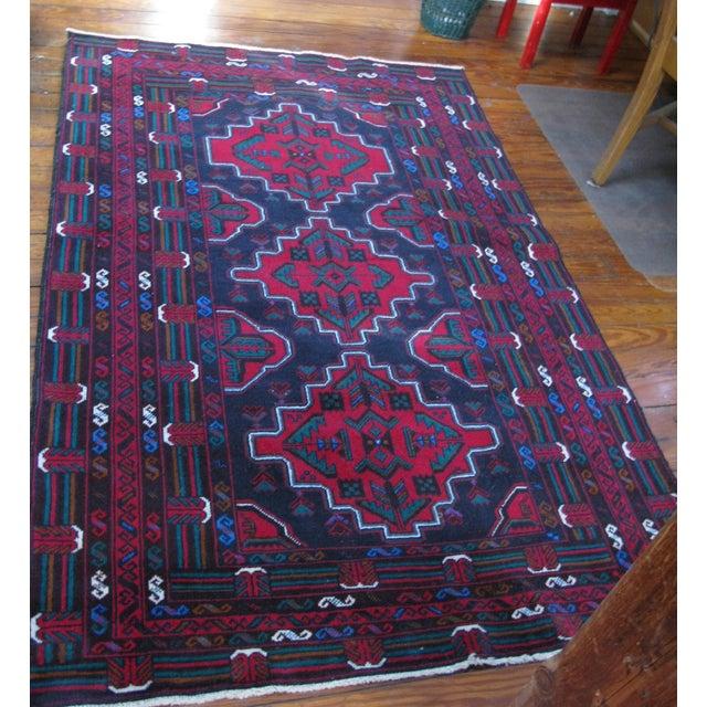 "Image of Hand Made Antique Baluchi Rug - 4' x 6'4"""
